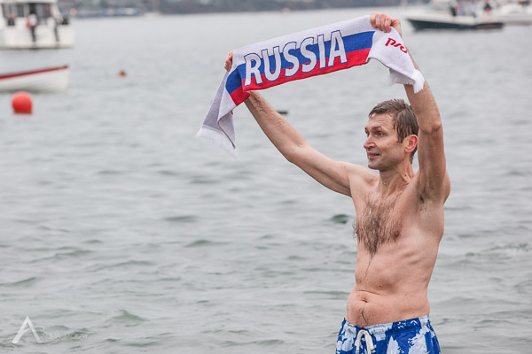Russia at Polar Bear Swim in English Bay 2014 photography by Aura McKay