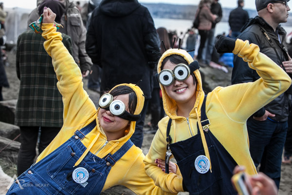 Minions at Polar Bear Swim in English Bay 2014 photography by Aura McKay