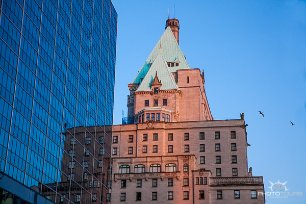 Photo Tours Vancouver Fairmont Hotel Vancouver on Burrard in a reflection by Aura McKay