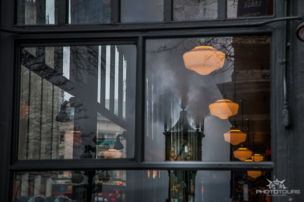 Photo Tours Vancouver relfection of steam clock in Gastown by Aura McKay