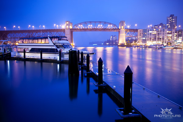 Photo Tours Vancouver night photography at Granville Island image of Burrard Bridge by Aura McKay