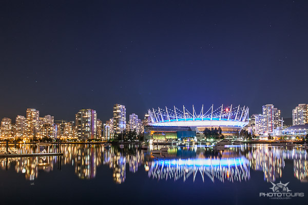 Photo Tours Vancouver night photograph of city skyline with BC Place Stadium by Aura McKay