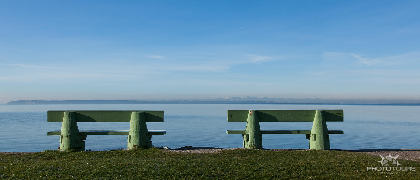 Photo Tours Vancouver two benches at Crescent Beach by Aura McKay