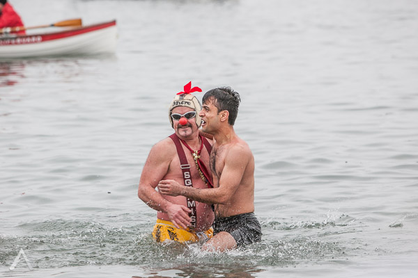 Cold water buddies at Polar Bear Swim in English Bay 2014 photography by Aura McKay