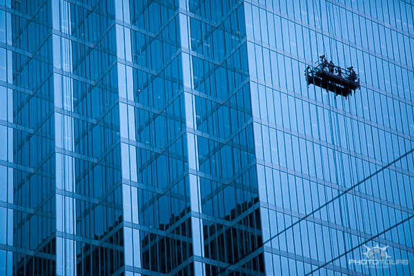 Photo Tours Vancouver downtown architecture city of glass with windo washer by Aura McKay
