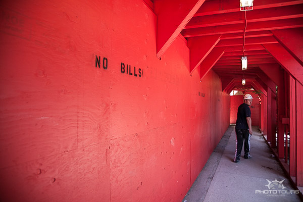 Photo Tours Vancouver street photography red wall, no bills by Aura McKay
